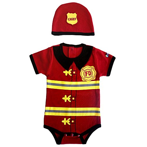Boys Firefighter Bodysuit & Cap Set, Red, 12 -