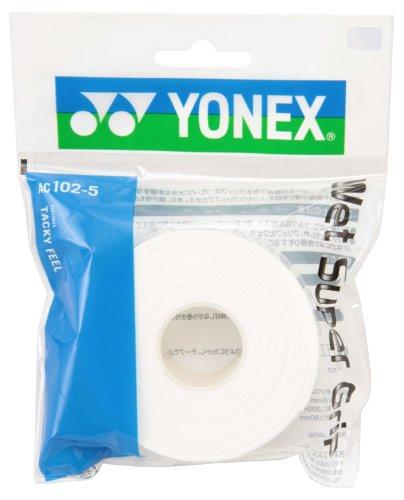 요넥스 (YONEX) 테니스 배드민턴 그립 테이프 웨트(wet) 슈퍼 그립 새로 채워넣어 용 (5개들이) AC102-5 화이트