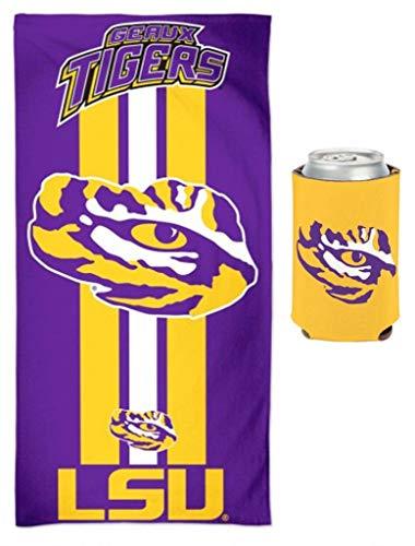 WinCraft Bundle 2 Items: LSU Tigers NCAA School Beach/Dorm 30 x 60 Inch Towel & Can Coolie ()