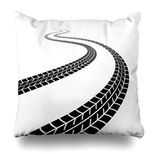 YeaSHARK Throw Pillow Covers Painting Tire Winding Trace Tyres Track Auto Race Wheel Fast Road Graphic Automobile Zippered Design Square 16