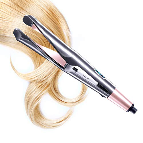 Hair Straightener, Curling Iron straightening Iron 2 in 1, Tourmaline Ceramic Twisted Flat Iron for Hair, Dual Voltage Hair Curler for Travel, LCD Digital Display
