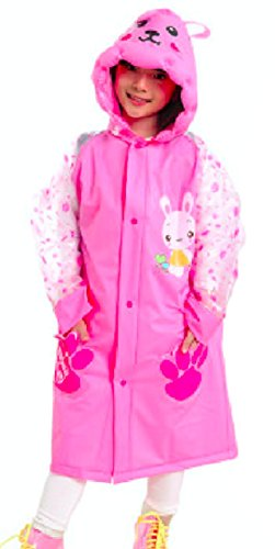 P-LINK Kids Rain Poncho Trench Jacket Cartoon Hooded Outwear Long Raincoat Children's Kids Poncho Ponchos for rain Disney Towel Disposable Mexican Girls Sweater Beach Clear Towels Boys (M, Pink) - Grey Steel Rain Jacket
