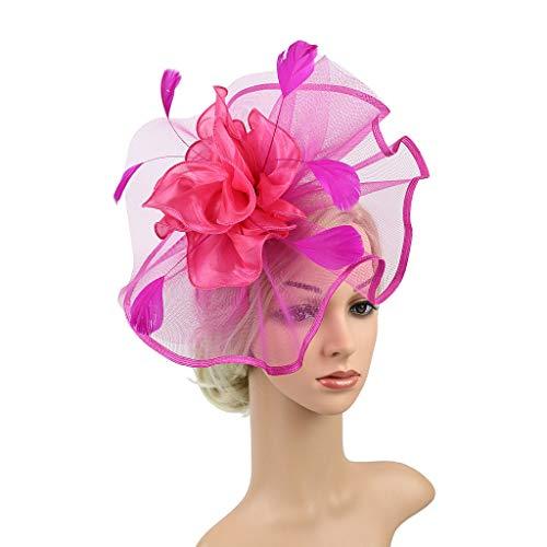 (Dream_ mimi Headpiece Feather Flapper Headband Headdress Vintage Prom Great Gatsby Headband (Hot Pink))