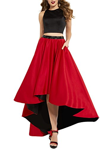 Dress Bridal Two 2018 Beaded Evening Satin Length Piece S067 Beauty Red Floor Gown Prom 8qdAdg