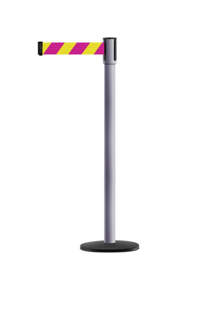 Tensabarrier - 890B-33-92-92-STD-NO-D5X-C - dove gray post, 2'' wide, 7'6'' length Chevron Magenta & Yellow belt