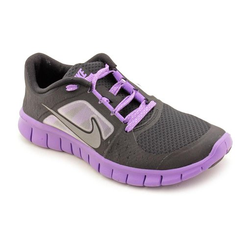 Nike Free Run 3 Girls (Kids) Running Shoe, Black/Reflect Silver-Iris, 5 B - Black 3 Free Run