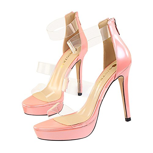 estilo amp;dw de de con personalidad sexy zapato plataforma con impermeable z transparente Zapatos una sandalias Rosa hueca palabra 4wqRdZY