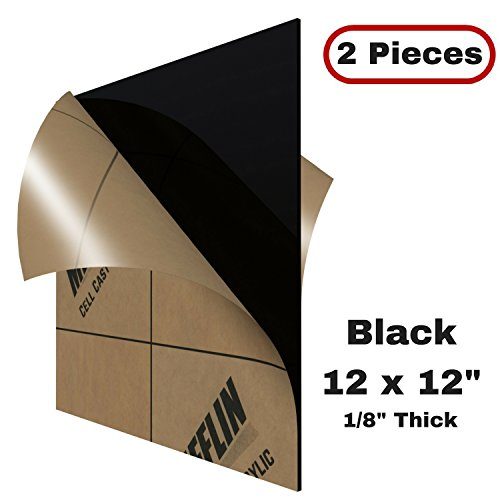 Mifflin Plexiglass Sheet  Opaque Black  12X12 Inch  2 Pieces   118   1 8 In  Cell Cast Acrylic Sheet  12 By 12  For Display Cases  Signs  Diy Projects  Cabinets  Shelves  Photography
