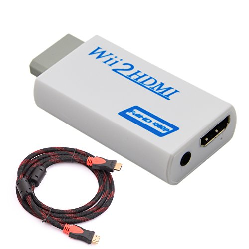 utomatic Upscaler 1080P Converter Adapter + 1.5M High Speed HDMI 1.4v Cable, 720/1080P HD Output Upscaling Converter - Supports All Wii Display Modes (Converter Part)