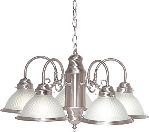 Nuvo SF76/695 Five Light Chandelier with Frosted Ribbed Glass, Brushed Nickel