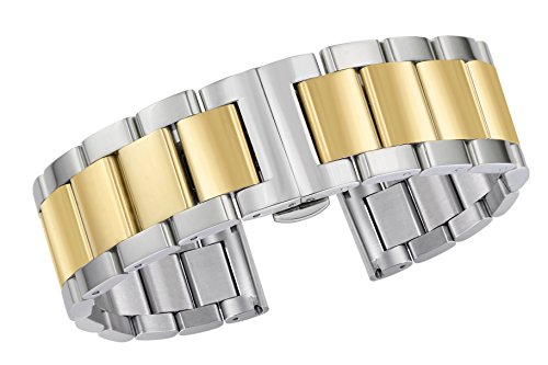 Premium Dual Tone Stainless Steel Watch Straps 22mm Solid Metal Links Silver and Gold Plated Removable ()