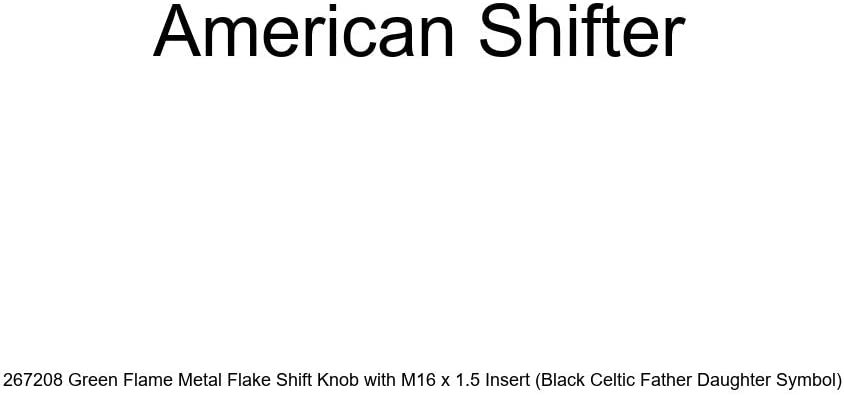 American Shifter 267208 Green Flame Metal Flake Shift Knob with M16 x 1.5 Insert Black Celtic Father Daughter Symbol