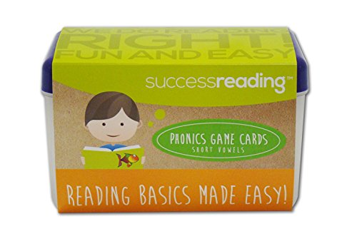 Success Reading's Phonics Game Cards, Short Vowel Sounds, for Parents and Teachers to Help Children Learn to Read From Prek, Kindergarten, First Grade and Older.