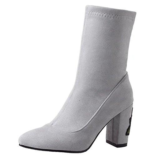 Blockabsatz und Absatz Damen Winter Schuhe AIYOUMEI Blumen Herbst Stiefeletten grau Stiefel 7cm wildleder mit xg0YUn