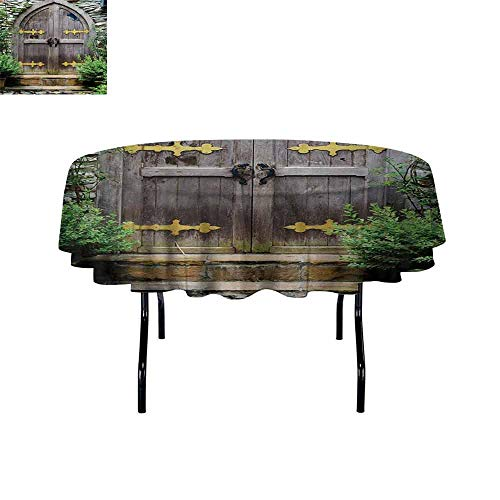 (Curioly Rustic Iron-Free Anti-fouling Holiday Round Tablecloth Unique Castle Traditional Middle Age Heritage Fairy Doorway Aged Entrance Picture Table Decoration D39.4 Inch Brown Green)