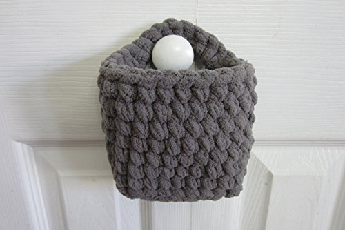 Small Hanging Basket, Rectangle Wall Baskets, Crocheted Catch All - Many Color Choices! (Crocheted Baskets)