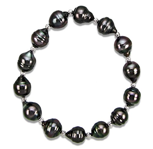 8-10mm Black Off-shape Tahitian Cultured Pearl and Sterling Silver Sparkling Beads Stretch Bracelet, 7.5'' by La Regis Jewelry