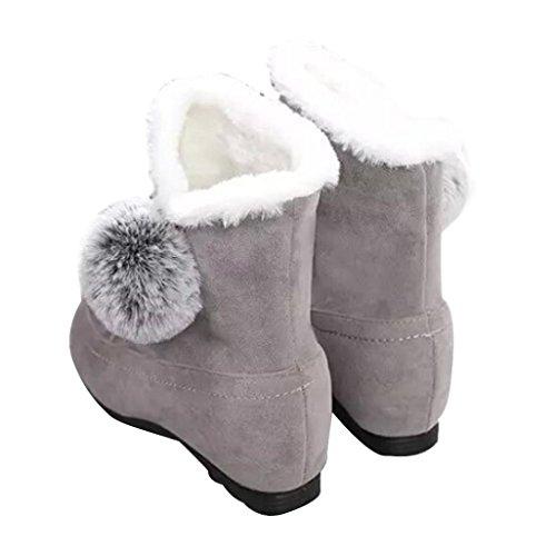 Clode® Stiefel Damen Frauen Art und Weiseknöchel Aufladungen Flache beiläufige Schuhe Wärmen Veloursleder-Schuhe Grau