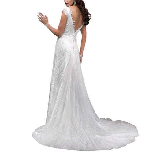 Hochzeitskleider GEORGE aermel Gericht Weiß bedeckter Kappe BRIDE Brautkleider Tulle Spitze aus Zug CUwCv7qr