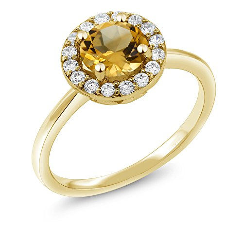 Citrine 18K Yellow Gold Plated Silver Halo Ring (Size 5) ()