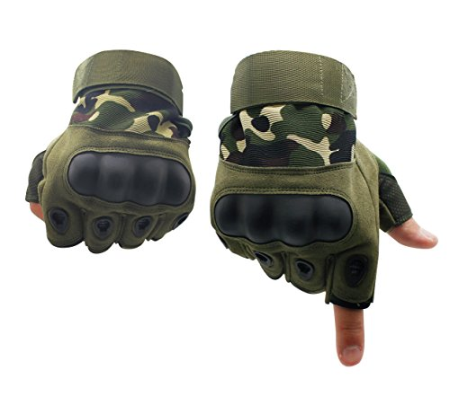 Lovidea Tactics Gloves Military Fingerless Hard Knuckle,Camouflage Tranning Gloves for Man and Women Fit for Cycling Motorcycle Hiking Camping Powersports Airsoft - Paint Airsoft Camo