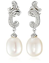 Sterling Silver Freshwater Cultured Pearl and Diamond Drop Earrings