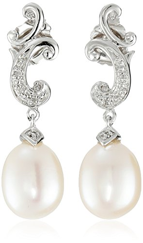 Sterling Silver Freshwater Cultured Pearl and Diamond Drop Earrings (Filigree Earrings Diamond)