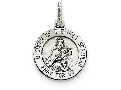 Scapular Medal Pendant - Finejewelers Sterling Silver Queen Of the Holy Scapular Medal Pendant Necklace Chain Included