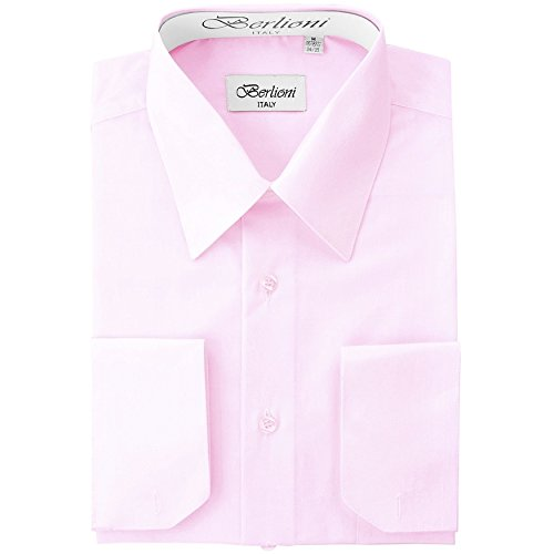 Colored Mens Cufflinks - Berlioni Men's Dress Shirt - Convertible French Cuffs - Pink, 3X-Large (19-19.5), 36/37 Sleeve