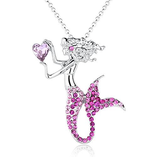 luomart Fashion Mermaid Birthstone Necklace Jewelry White Gold Plated Austrian Crystal Magic Pendant Gift (Pink) (Pink Mermaid Charm)