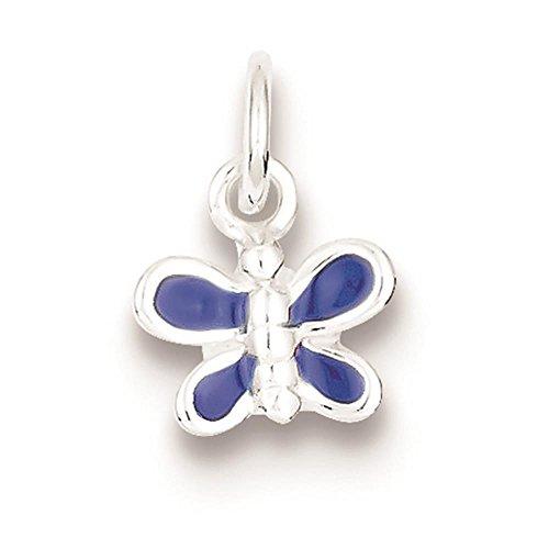 (925 Sterling Silver Enameled Blue Butterfly Charm Pendant 13mm x 10mm)