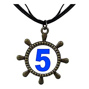 Chicforest Bronze Retro Style Blue Number 5 Ship Steering Wheel Pendant