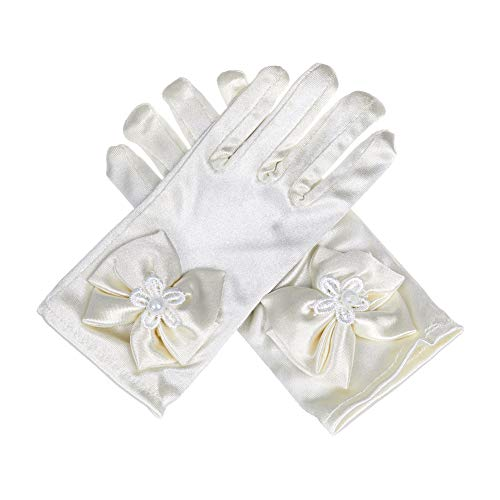 Lusiyu Girl Solid Child Size Wrist Length Formal Glove with Bow (Cream White)