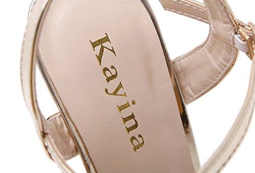 ZSSHJ JAZS® Sandales à Bout Ouvert et Respirantes Sexy New Style Fashion Sweet Élégant à la Mode Or vr4sK