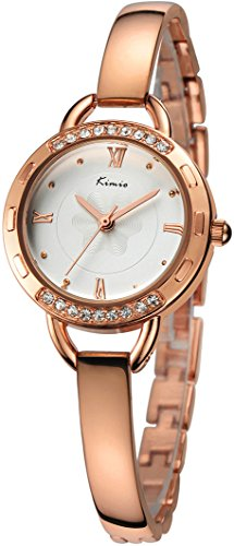 White Watch Bracelet Ladies (Women's Rose Gold Bracelet Wrist Watch Fashion Classic Stainless Steel Analog Watches for Ladies)