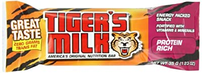 Tiger's Milk Protein Rich Energy Bar, 1.23-Ounce Bars, 24 Count (Pack of 2) by Tigers Milk