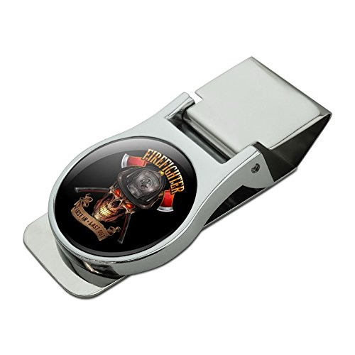 Chrome Plated Clip - Firefighter Skull First In Last Out Fireman Satin Chrome Plated Metal Money Clip
