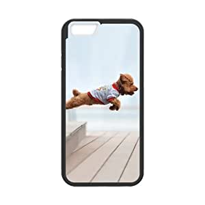 iPhone 6 Case, Awesome Cute Puppy Jumping Black TPU Frame & PC Hard Back Protective Cover Bumper Case for Iphone 6 (4.7) (2014)