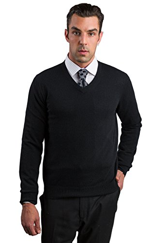JENNIE LIU Men's 100% Cashmere Long Sleeve V Neck Sweater (Medium, Black) by JENNIE LIU