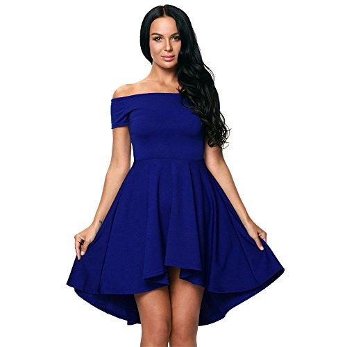 FRPQR-Robe Longue Robe  la Mode en Europe et en Amrique Bleu