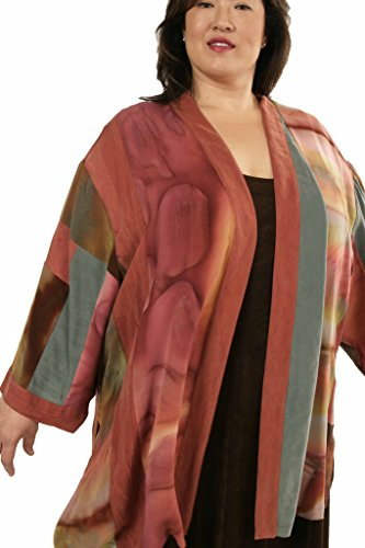 Peggy Lutz Plus Women's Tunic Length Kimono Caramel Sage Wearable Art 1380 - (30/32)