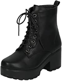 Womens Round Toe Lug Sole Military Combat Ankle Booties Boot 7 Black Su