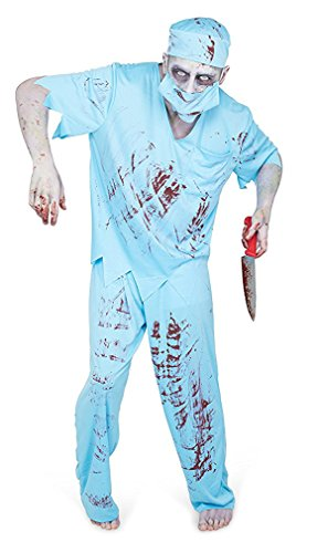 Zombie Costume Men (Men's Zombie Surgeon Costume - Halloween Costume Party Accessory - Medium)