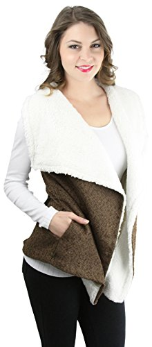 ToBeInStyle Women's Faux Fur Lined Drape Collar Belted Vest - Brown - (Belted Tweed Belt)