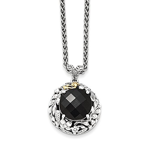 Sterling Silver and 14k Gold Onyx Necklace 18in - Onyx Diamond Enhancer