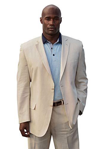 (Ks Signature Men's Big & Tall Linen Blend Two-Button Suit Jacket, Natural Pinstripe Big-52 )