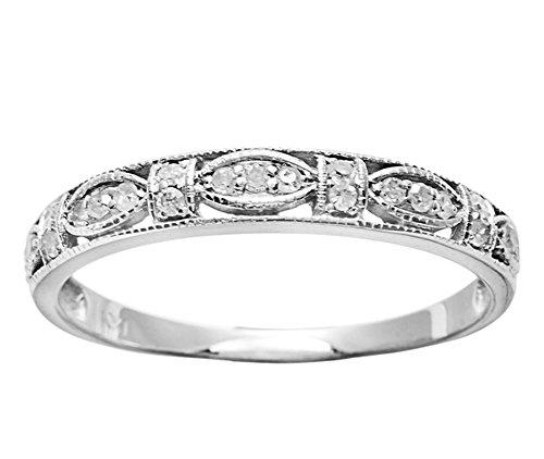10k White Gold Vintage Style Diamond Anniversary Ring (1/6 cttw, I-J Color, I2-I3 (Antique Style Diamond Band Ring)