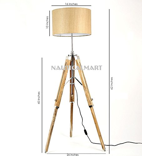 NauticalMart Handloom Brown Fabric Adjustable Tripod Floor Lamp For Living Room