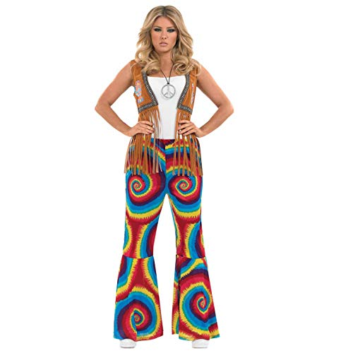fun shack Womens 70s Hippie Flares Costume Rainbow Swirl Psychedelic Flared Trousers - Medium