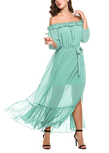 Zeagoo Women's Ruffles Off Shoulder 3/4 Sleeve Chiffon Split Beach Maxi Dress (Large, Sky Blue)